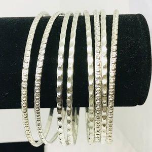 8 Bangle Bracelets Silver